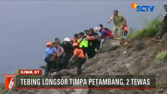 Longsornya puluhan meter tebing di Lereng Merapi, Desa Glagaharjo, Cangkringan, Sleman, Daerah Istimewa Yogyakarta ini terjadi pada senin pukul 06.00 pagi.