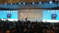 Presiden Jokowi saat menghadiri acara gala dinner 50 tahun Persatuan Hotel dan Restoran Indonesia (PHRI). (Liputan6.com/Lizsa Egeham)