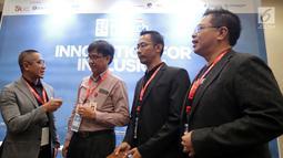 Ketua Umum AFPI Adrian Gunadi saat menjadi narasumber Talkshow Financial Literacy di Indonesia Fintech Summit & Expo 2019, Jakarta, Selasa (24/9/2019). Talkshow bertajuk P2P Lending 101: How to Choose The Right P2P Platform for Your Needs. (Liputan6.com/HO/Ismail)