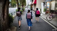 Anak Sekolah di Jepang.(AFP/ Odd Andersen)