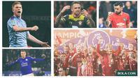 Kolase - Liverpool Juara, Jamie Vardy, Bruno Fernandez, Danny Ings, Kevin De Bruyne (Bola.com/Adreanus Titus)