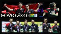 Mohammad Ahsan/Hendra Setiawan meraih gelar juara dunia 2019. (Foto: PBSI, grafis: Wiwig Prayugi))