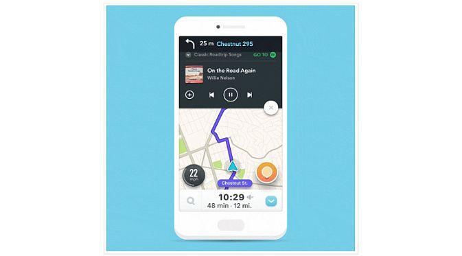 Integrasi Waze dan Spotify kini bisa dinikmati oleh para pengguna perangkat iOS (Foto: Waze)