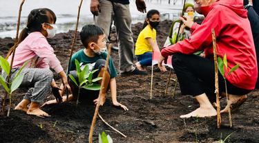 Presiden Jokowi menanam pohon mangrove bersama masyarakat di Pantai Wisata Raja Kecik Kabupaten Bengkalis, Riau, Selasa (28/9/2021).