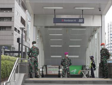 Penerapan New Normal, Stasiun MRT Bundaran HI Dijaga TNI