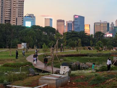 Suasana Hutan Kota di kawasan Gelora Bung Karno, Jakarta, Minggu (6/1). Warga Jakarta kini memiliki alternatif wisata untuk menghabiskan akhir pekan. (Liputan6.com/JohanTallo)