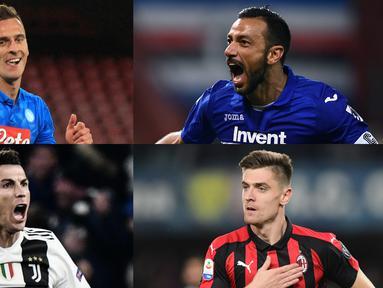 Penyerang gaek Sampdoria, Quagliarella jauhi Ronaldo di puncak pencetak gol Serie A hingga pekan ke-28. Kini Quagliarella mencetak 21 gol selisih dua gol dengan Ronaldo dan Piatek. (Kolase Foto AFP)