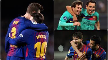 Lionel Messi dikabarkan akan hengkang dari Barcelona pada bursa transfer musim panas ini. Selama 16 tahun berseragam Barcelona, Messi memiliki beberapa rekan tim yang banyak berlaga bersamanya. Berikut 6 pemain yang paling banyak bermain dengan Messi di Barcelona. (kolase foto AFP)