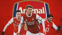 Arsenal - Mesut Ozil, Martin Odegaard, Jose Antonio Reyes (Bola.com/Adreanus Titus)