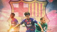 Barcelona FC - Marc-Andre ter Stegen, Ansu Fati, Riqui Puig (Bola.com/Adreanus Titus)