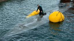 Penyelam dari anggota Garda Sipil Spanyol memeriksa kapal selam di perairan Aldan, Spanyol (26/11/2019). Kepolisian Spanyol juga mengamankan dua pria asal Ekuador yang bertindak sebagai mengantar/kurir kokain. (AFP/Lalo R. Villar)