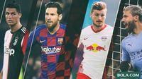 Pemain Cristiano Ronaldo, Lionel Messi, Timo Werner, Sergio Aguero (Bola.com/Adreanus Titus)