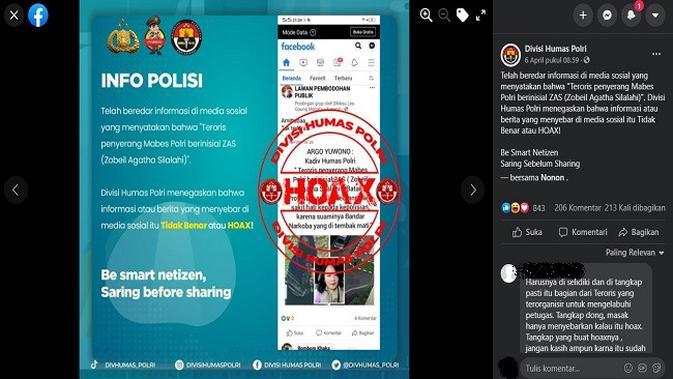 Gambar Tangkapan Layar Unggahan dari Akun Facebook Divisi Humas Polri