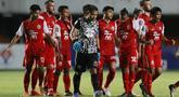 Pemain Persija Jakarta merayakan kemenangan usai mengalahkan Persib Bandung pada laga final Piala Menpora 2021 di Stadion Maguwoharjo, Sleman, Kamis (22/4/2021). Persija menang dengan skor 2-0. (Bola.com/M Iqbal Ichsan)