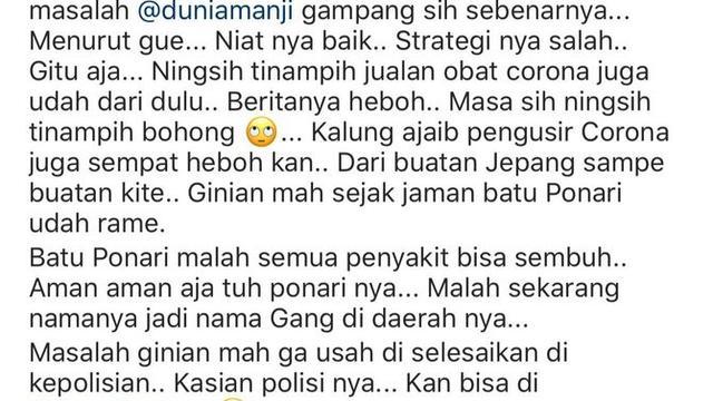 Komentar Deddy Corbuzier terkait masalah Anji dan Hadi Pranoto (https://www.instagram.com/p/CDcycD4nFMY/)