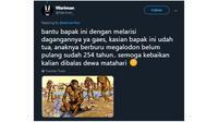 Cuitan kocak ala netizen jika Twitter ada di zaman purba. (Sumber: twitter/@Wariman_)
