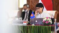 Menteri Luar Negeri (Menlu) Retno Marsudi saat menghadiri KTT ke-8 ASEAN-Amerika Serikat secara virtual. (Foto: Biro Pers Sekretariat Presiden)