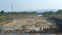 Ilustrasi – Volume Sungai Citanduy hilir Bendung Menganti, perbatasan Jawa Tengah-Jawa Barat menyusut pada musim kemarau. (Foto: Liputan6.com/Muhamad Ridlo)