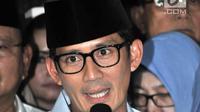 Cawapres Sandiaga Uno memberikan keterangan pers saat deklarasi capres-cawapres di Kertanegara, Jakarta, Kamis (9/8). Koalisi Gerindra, PAN dan PKS membawa Prabowo-Sandiaga ke Pilpres 2019. (Merdeka.com/Iqbal S Nugroho)