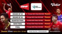 Jadwal dan Live Streaming BWF : Yonex Thailand Open 2021 di Vidio (Sumber : dok. vidio.com)