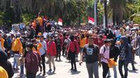 Aksi demonstrasi yang dilakukan mahasiswa Kendari, Kamis (26/9/2019).(Liputan6.com/Ahmad Akbar Fua)