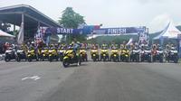 Selain kelas baru seperti Yamaha Aerox 155, ada kelas yang melombakan balapan antar motor bebek legendaris (Liputan6.com/Windi wicaksono)