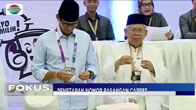 Komisi Pemilihan Umum (KPU) resmi menetapkan nomor urut bagi dua pasangan calon presiden dalam rapat pleno terbuka pada Jumat (21/9/2018) malam.