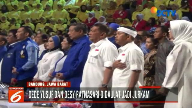 Deddy Mizwar - Dedi Mulyadi menggelar deklarasi di hadapan ribuan pendukung Partai Koalisi Sajajar yang dihadiri SBY dan Aerlangga Hartarto.