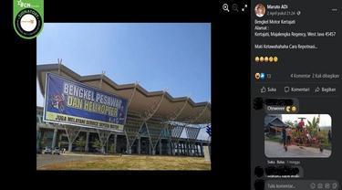 Gambar Tangkapan Layar Kabar tentang Bandara Kertajati Melayani Servis Sepeda Motor (sumber: Facebook)