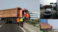 Kecelakaan Truk di Tol Wiyoto Wiyono (Twitter TMC Polda Metro Jaya)