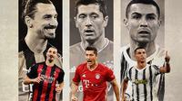 Ilustrasi - Zlatan Ibrahimovic, Robert Lewandowski, Cristiano Ronaldo (Bola.com/Adreanus Titus)