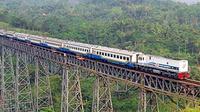 Rangkaian KA Parahyangan Bandung-Jakarta saat melintasi Jembatan Cikubang, Padalarang, Bandung Barat, Jawa Barat. PT Kereta Api Indonesia akan memberhentikan operasional KA Parahyangan.(Antara)