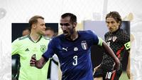 Manuel Neuer, Giorgio Chiellini dan Luka Modric. (Bola.com/Dody Iryawan)