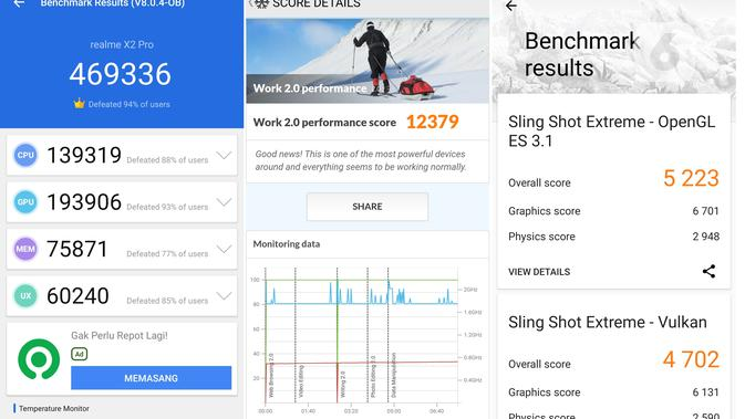 Hasil benchmark Realme X2 Pro dengan berbagai aplikasi (Liputan6.com/ Agustin Setyo W)