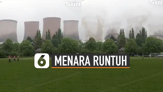 Beredar video empat menara pendingin pembangkit listrik raksasa runtuh.