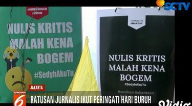 Para jurnalis ingin menyuarakan tuntutan kesejahteraan mereka dan menolak kekerasan terhadap para kuli tinta.