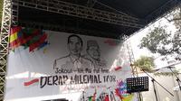"Koalisi pendukung Jokowi-Ma'ruf Amin di Pilpres 2019 menggelar acara bertema ""Derap Milenial 1708, Demokrasi Rakyat Para Milenial"". (Liputan6.com/Putu Merta)"