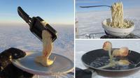 Makanan yang membeku saat hendak dibuat di Antartika. (Sumber foto: Cyprien Verseux)
