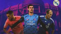 Real Madrid - Eden Hazard, Thibaut Courtois, Arjen Robben (Bola.com/Adreanus Titus)