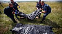 Petugas dari Ukraina mengangkat jenazah korban kecelakaan pesawat Malaysia Airlines MH17 di Grabovo, Donetsk, Ukraina (REUTERS/Maxim Zmeyev)