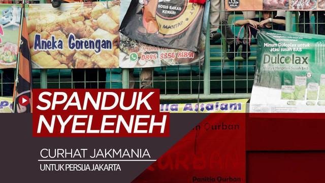Berita video curhat beberapa Jakmania tentang spanduk nyeleneh yang dibentangkan di tribun saat Persija Jakarta bermain pada laga kandang Liga 1 2019.