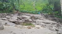 Banjir bandang terjadi di kawasan Gunung Mas, Desa Tugu Selatan, Kecamatan Cisarua, Kabupaten Bogor. (Liputan6.com/Achmad Sudarno)