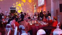 Perayaan makan malam atau fine dining masakan tradisional 'old chinnes' di ballroom The Spring Club Kabupaten Tangerang. (Pramita/Liputan6.com)