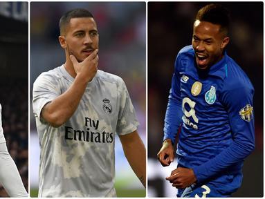 Real Madrid akan mengawali La Liga 2019-2020 dengan skuat lengkap. Hadirnya pemain baru seperti Luka Jovic dan Eden Hazard diharapkan bisa menjadi penyegar skuat Los Blancos. Berikut 5 pemain anyar Real Madrid yang siap beri kejutan di musim ini. (Kolase Foto AFP)