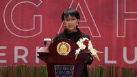 Menlu Retno Marsudi saat menyampaikan pidato pada acara HUT Kemlu RI ke-75 pada Rabu, 19 Agustus 2020. (Dok: Kemlu RI)