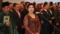 Destry Damayanti saat dilantik menjadi Deputi Gubernur Senior Bank Indonesia di Gedung MA, Jakarta, Rabu (7/8/2019). Destry dilantik menjadi Gubernur Senior BI periode 2019-2024. (Liputan6.com/Angga Yuniar)
