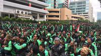 GrabBike Demo di depan Gedung Lippo Kuningan, Jakarta. Liputan6.com/Jeko Iqbal Reza