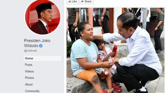 Presiden Jokowi menemui seorang perempuan bernama Inah saat kunjungan kerja di Banten, Jumat (6/12/2019). (Facebook Presiden Joko Widodo )