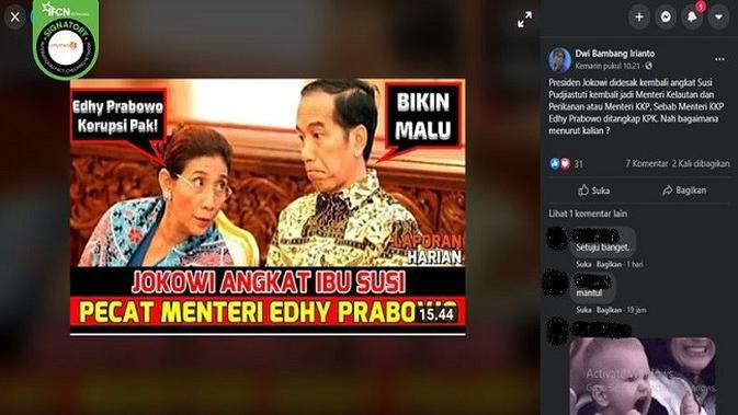 Gambar Tangkapan Layar Kabar Jokowi Mengangkat Susi Pudjiastuti Menggantikan Edhy Prabowo. (sumber: Facebook)