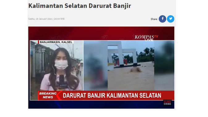 Cek Fakta Liputan6.com menelusuri klaim tidak ada stasiun tv yang memberitakan banjir di Kalimantan